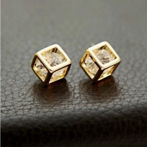 Elegant 18K Gold Plated Zircon Luxury Cube Earrings