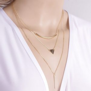 Multi layer Gold Plated Triangle Chain Choker Necklace Pendant