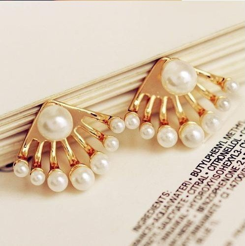 Gold plated Pearls Stud Earrings