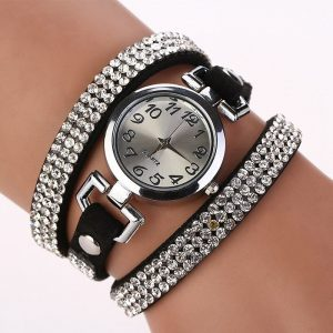 Rhinestone Leather Round Bracelet Wristwatches