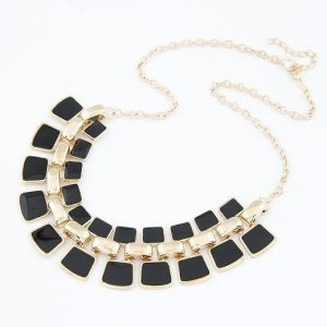 Balck and Gold Plated Choker Necklace For Women