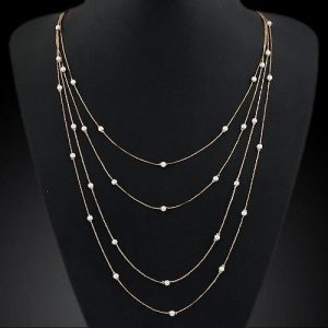 Simple Double Chain Charm Simulated Pearl Necklace