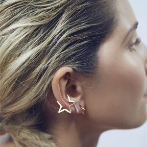 PUNK Alloy Plated Hollow Star Ear Cuff