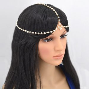 Gold Silver Multi Pearls Head Chain Bohemian Headband Matha Patti