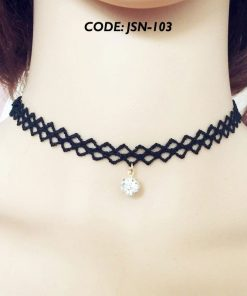 Lace Choker Necklace Crochet Beads Tassel