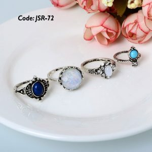 4 Piecs Lot Midi Boho Turquoise Rings Set
