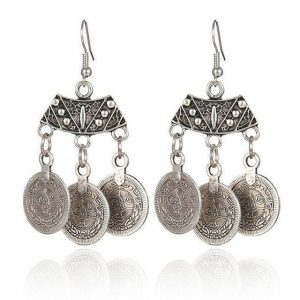 Antique Ox Silver Gypsy Hippie Three Coin Charms Retro Vintage Bohemian Dangle Earrings