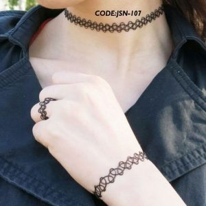 TATTOO Stretch Tattoo Choker Necklace Bracelet Ring SET