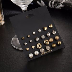12 Pieces Set Crystal Alloy Round Ball Gold Color Stud Earrings