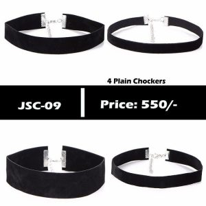 Leather Velvet Plain Choker Set