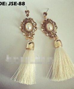 White Long Tassel Earrings