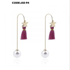 Tassel Drop Cute Pearl Long Dangle Earrings
