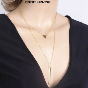 Double Layer Choker Necklaces Triangle Stick