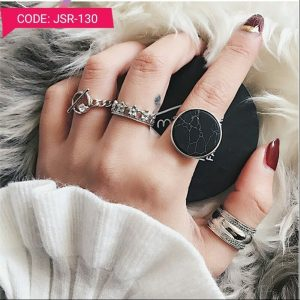 Big black stone ring set