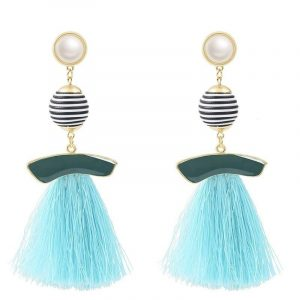 Rhinestone Drop Tassel Earrings