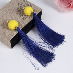 Pom Ball Long Tassel Earrings