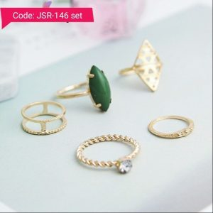 Colorful Geometric Crystal Gold Color Ring Set