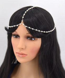 Bridal Gold Turquoise Drop Multi Chain Tassel Headband - Matha Patti