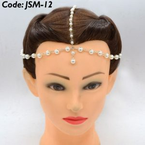 Bridal Gold Turquoise Drop Multi Chain Tassel Headband - Matha Patti