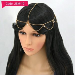 Gold 2 Layer Pearls Wedding Bridal Head Chain - Matha Patti