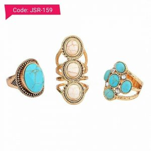 Vintage Ethnic Natural Stone Rings Set