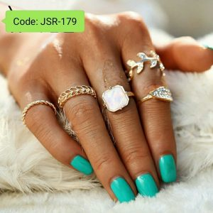 Mixed Flower Leaf Ring Set