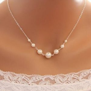 Simulate Pearl Chain Pendant Necklace