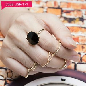 Black Crystal Punk Ring Sets