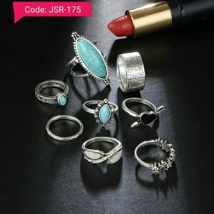 Vintage Boho Big Blue Stone Heart Finger Midi Knuckle Ring Set