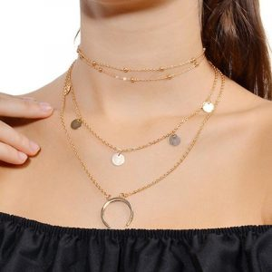 Gold Color Choker Necklace Moon Star Shape necklaces