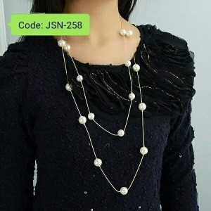Multi-Layer Long Necklace Simulated Pearl Necklace