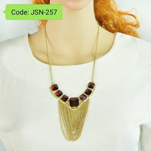 Elegent Red Square Rhinestone Gold-Color Chain Tassel Necklace