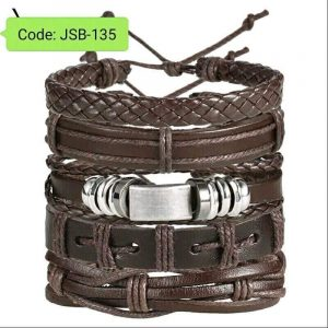 Multiple Layers Punk Leather Bracelets black