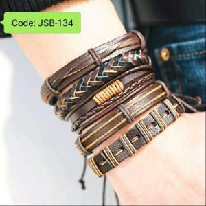 Multiple Layers Punk Leather Bracelets Brown