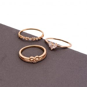 Copper Zircon Heart Infinity Finger Ring Set