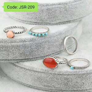 Punk Opal Stone Midi Knuckle Rings Set