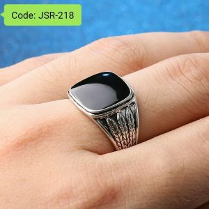 Crystal Round Black Stone Resin Rings For Men