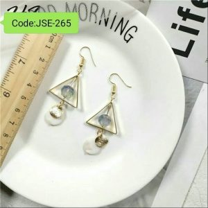 Long Gold-Color Retro Beads Round Wood Earrings For Women