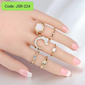 6 Pieces Set Retro Gold Color Arrow Opal Crystal Rings