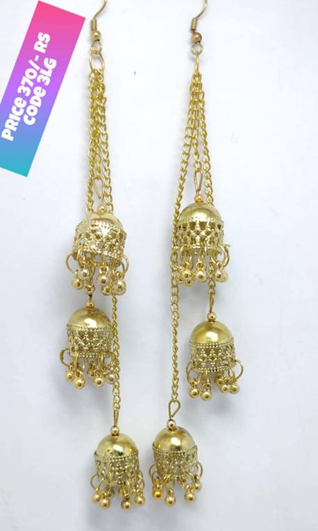 Oxidized Golden Long Chain Jhumka Price In Pakistan J S